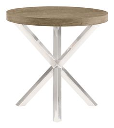 Round Chairside Table Wood Top and Base   Bernhardt