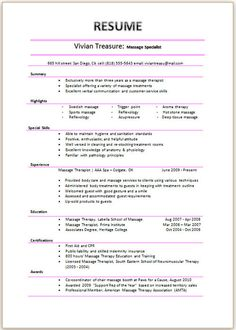Licensed Massage Therapist Resume Template Massage Therapy - Massage therapist resume template