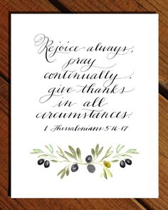 Rejoice Always  1 Thessalonians 5:16-17  by CalligraphyByClaire