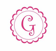 Monogram Vinyl Wall Decal - Round Scallop Border Flower Decal with Initial Monogram for Girl Baby Nursery Girls Room Decal 22Hx22W FS056
