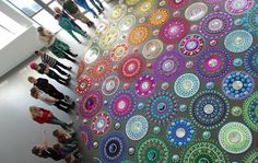 Floor installations by Suzan Drummen | Mirrors and brightly colored glass