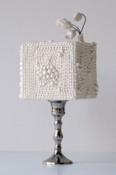 Maggie Austin Cakes - This square cake is encrusted with various sizes of edible pearls.