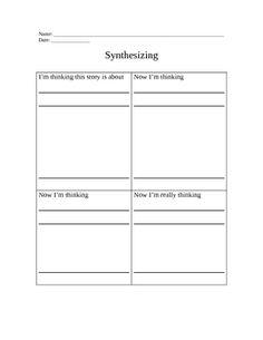This is a graphic organizer used to help students organize their thoughts when they are working on the comprehension strategy of synthesizing infor. Reading Comprehension Strategies, Reading Fluency, Reading Skills, Guided Reading, Teaching Reading, Learning, 4th Grade Activities, Reading Activities, Classroom Organization