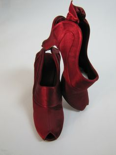 A Pair of 1940's Daniel Green Boudoir Red Wine Heeled Slippers