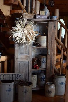 Old crocks in vintage wooden shelf / cupboard - Home Design Antique Crocks, Old Crocks, Antique Stoneware, Stoneware Crocks, Primitive Homes, Primitive Kitchen, Primitive Antiques, Country Primitive, Primitive Decor
