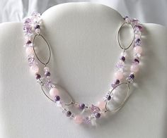 Now on Etsy ! Artisan Jewelry | Amethyst ans pink quartz necklace by Mademoizelle Fleur