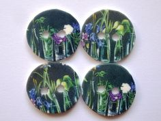 Miniature Art. Wildflower painting buttons. Handmade from shrink plastic.