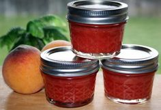 Strawberry & Peach Jam from Food.com:   This jam recipe is very easy to make and delicious! The strawberry and peach are a perfect combination. I use pectin because it cuts down the cooking time and sugar significantly. You can cut this recipe in half for a smaller batch. This recipe makes approx. 12 8oz. jars. Enjoy!