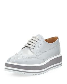 Platform Brogue-Trim Leather Oxford, Crystal (Cristalo) by Prada at Neiman Marcus.