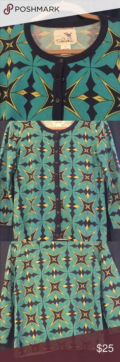 Anthropology Tabitha cardigan. Size medium Tabitha cardigan with a beautiful turquoise, blue and yellow print. 100% cotton. Size medium. pre-owned- great condition, no holes or stains. Anthropologie Sweaters Cardigans