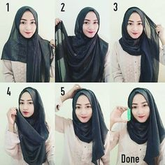 Discover recipes, home ideas, style inspiration and other ideas to try. Tutorial Hijab Segi 4, Pashmina Hijab Tutorial, Hijab Style Tutorial, Hijab Dress Party, Hijab Style Dress, Hijab Outfit, Hijab Casual, Hijab Chic, Hijab Dp
