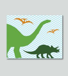 Dino Chevron Art Canvas: 16x20 Canvas, Children and Nursery Decor, Wall art for kids and baby