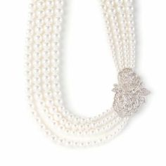 Multi-Strand Pearl Necklace with Vintage Pavé Crystal Roses