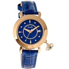 Bertha Womens Iris Mother-Of-Pearl Blue Leather-Band Watch With... ($325) ❤ liked on Polyvore featuring jewelry, watches, blue crown, blue strap watches, blue jewellery, dial watches and blue jewelry