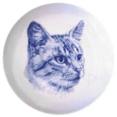 European Shorthair - Silver Tabby Danish Blue Porcelain Collectors Cat Plate