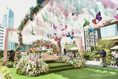 Exceptionally Beautiful Decor Themes We Discovered in 2018 Weddings Butterfly Wedding Theme, Butterfly Birthday Party, Stage Decorations, Indian Wedding Decorations, Mehndi Decor, Mehendi, Thailand Wedding, Big Fat Indian Wedding, Wedding Stage