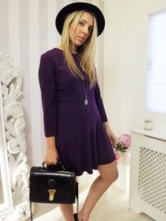 TOPSHOP Plum AUTUMN Blogger Fav Tea Dress 10 12