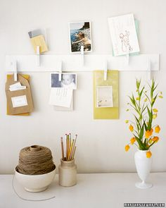 Create this clothespin organizer to organize and display your favorite cards and ideas.