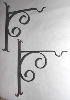 Pair of Wrought Iron Brackets  for lanterns