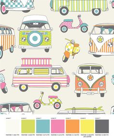 VW Camper Vans motorbikes / scooters COTTON Print Retro designer upholstery curtain, cushions bedding childrens fabric - By the Metre