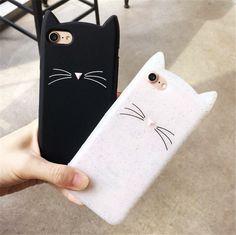 Mignon Corée Bande Dessinée Case Noir Blanc Cat Pour iPhone 7 6 S Case Coque Souple En Silicone Téléphone Cas Pour iPhone 6 Plus 7, Plus La Couverture Arrière