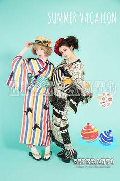 レトロな浴衣でココヒメ Cute Taiwan girls in Kyoto, Japan. Yukata, Kimono Fabric, Kimono Dress, Japanese Cotton, Japanese Kimono, Traditional Fashion, Traditional Outfits, Geisha, Modern Kimono
