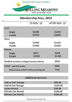 Rolling Meadows Golf 2014 Membership Prices!  Buy before November 15th & save!   New members can play the balance of the 2013 season from September 15th with a 2014 membership purchase.
