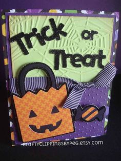 Trick or Treat Halloween Candy Card by CraftyClippingsbyPeg, $4.50