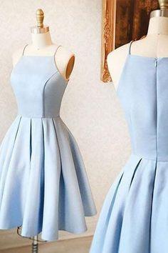 Light Blue Spaghetti Straps Elegant Short Prom Dresses Homecoming Dress LD278