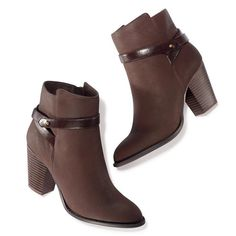 """Update your look with this leatherlike brown ankle-high bootie. Features a leatherlike decorative strap around the top that wraps around, easy-on side zipper, chunky 2 3/4"""" H heel and Cushion Walk memory wave sock. Half sizes, order one size up. · Polyurethane and Thermal Plastic Rubber · Cleaning: Wipe with a dry cloth. · Imported"""