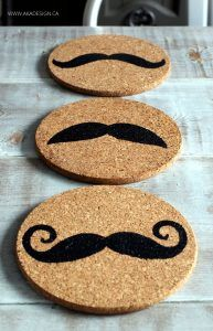 STENCILED CORK TRIVETS