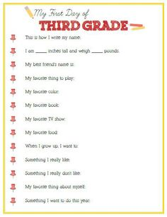 First Day of Third Grade Interview - Click link or image below to download - Positively Splendid {Crafts, Sewing, Recipes and Home Decor}