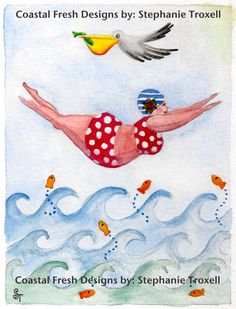 Kids Room Painting - Sylvia Diving by Stephanie Troxell Plus Size Art, Fat Art, Arte Pop, Naive Art, Bathing Beauties, Whimsical Art, Beach Art, Painted Rocks, Watercolor Paintings