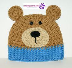 Blue Bear Crochet Hat