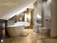 Dom na przedmieściach - Duża łazienka na poddaszu, styl nowoczesny - zdjęcie od Manufaktura Projektów