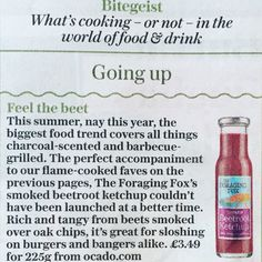 The Daily Telegraph  - Bitegeist The Foraging Fox Smoked Beetroot Ketchup