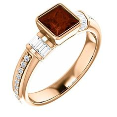 14K Rose Gold 5x5 Princess Cut Mozambique Garnet and Diamond Ring