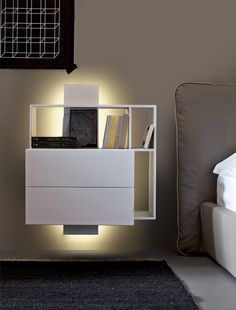 Wall-mounted bedside table with drawers CONTATTO Estel Casa Line by ESTEL GROUP | #design ADP design