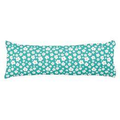 White flowers on custom color body pillows