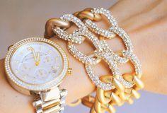 Pave Crystal Chain Link Matte Gold Bracelet. $20.00, via Etsy.