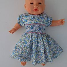 507419e6fd8 Ensemble bébé fille robe et bloomer liberty bleu-blanc de 3 mois à 12 mois