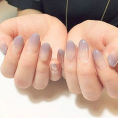 Elegant Naked purple gradient French finished false nails, Simple round head full Nail tips DIY art tool - Nail Art Glue On Nails, My Nails, Nude Nails, Matte Nails, Coco Nails, Shellac Nails, Fall Nails, Gel Nail, Short Oval Nails