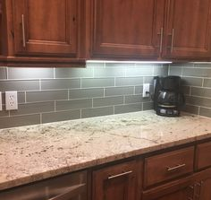 the glass smoke subway tile backsplash is finally done - Subway Kitchen Tiles Backsplash