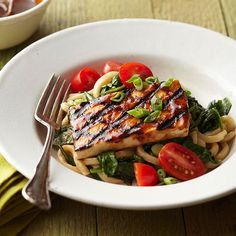 Grilled Tofu Teriyaki with Spicy Spinach Udon