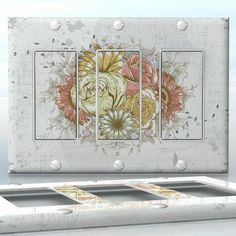 DIY Do It Yourself Home Decor - Easy to apply wall plate wraps | Vintage Bouquet Light background and old style bouquet wallplate skin sticker for 3 Gang Decora LightSwitch | On SALE now only $5.95