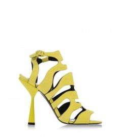 Pierre Hardy Suede Sandal - Bold and bright sandals to put you on a one-way street to happy feet. http://shop.harpersbazaar.com/trends/spring-statement-sandals