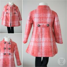 Toddler Girls Fashion: Coral Plaid Coat from Pumpkin Patch #kidsfashion #kidsstyle