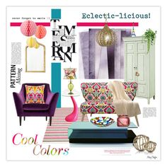 Eclectic-licious Cool Colors by mcheffer on Polyvore featuring interior, interiors, interior design, home, home decor, interior decorating, Susan Kinzig and Caryn Kinzig, Currey & Company, Pappelina and Worlds Away