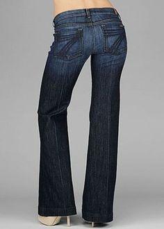 7 For All Mankind Dojo Trouser/Wide Leg Jeans-Dark Rinse