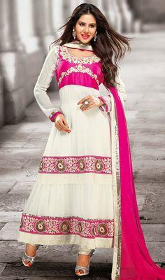 Off White Chiffon Long Churidar Suit Price: Usa Dollar $108, British UK Pound £64, Euro80, Canada CA$117 , Indian Rs5832.